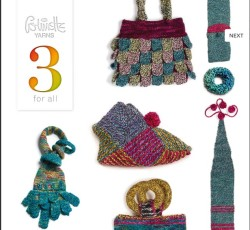 """3 for All"" book from Colinette using Hullabaloo aran yarn (5)"