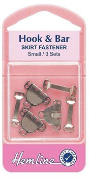 Hemline Hook & Bar skirt Fastener - small, 3 sets (different packaging)  (3)