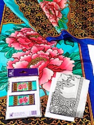 Peony - Ideen habotai 8 long ready-outlined silk scarf  180 x 45cm(1)