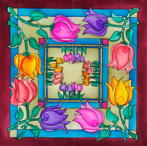 Flowers - Ideen habotai 8 square ready-outlined silk scarf  74 x 74cm (1)