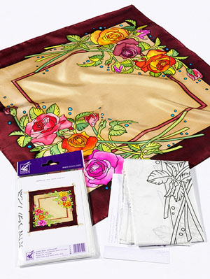 Ideen ready-outlined square silk scarf 55 x 55cm - Rose NEW