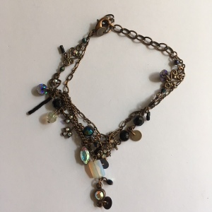 Metal, Crystal and Bead Bracelet Black & Opal (1 only)