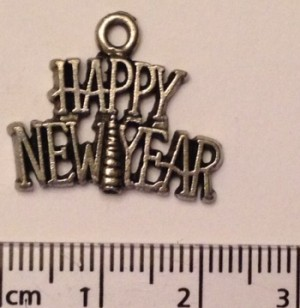 Happy New Year charm - silver (22)