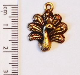 Peacock charm - gold (13)