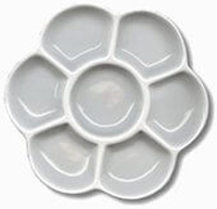 Daisy-shaped Porcelain Palette with 7 wells NEW