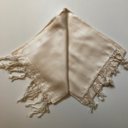 Eri/Peace Silk Hand-woven Long Scarf - Natural with small woven design - 70 x 200cm NEW (5 in stock)