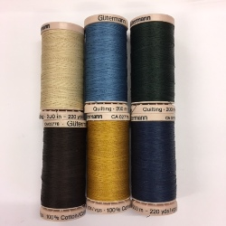 Gutermann Hand Quilting threads 200m - pack of 6 assorted colours (3)