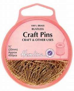 Hemline 100% Brass rustless Craft Pins (4)