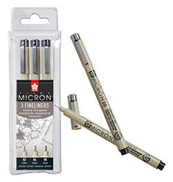 Pigma Micron Fineliner set of 3 black pens in different widths NEW