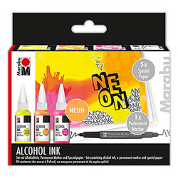 Marabu Alcohol Ink Set - Neon NEW - UK mainland shipping only