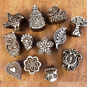 Small Indian Woodblock Stamps
