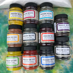 Set of 11 Jacquard Procion dyes for mixing, with 500g Soda Ash for fixing