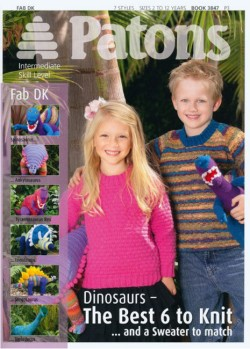 """Dinosaur Toys and a Sweater to Match"" booklet from Patons, using DK yarns SOLD OUT"