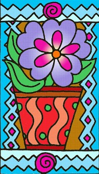 NEW Silk Greetings Card - Flower in Pot