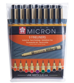 Pigma Micron Fineliner 05 set of 9 pens NEW - OUT OF STOCK