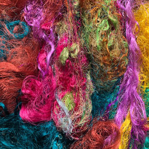 Indian Dyed Recycled Silk Fibres 50g OUT OF STOCK