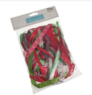 Pack of 50m Mixed Ribbons - Christmas