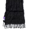 Indian Crinkled BLACK Cotton Batiste Scarf with fringe 180 x 50cm DISC (3 left)