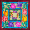 Flowers - Ideen habotai 8 square ready-outlined silk scarf NEW (3)