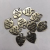 "10 x Silver-coloured ""Made with Love"" heart charms"