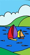 NEW Silk Greetings Card - Boats