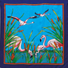 Flamants square silk scarf